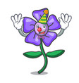clown periwinkle flower mascot cartoon vector image