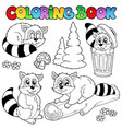 coloring book with cute racoons vector image