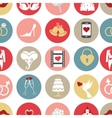 Cute flat wedding icons in seamless pattern vector image vector image
