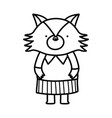 cute fox with clothes cartoon character on white vector image vector image