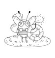 cute little bee with swimsuit and float vector image