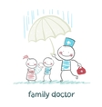 family doctor holding an umbrella from the rain on vector image vector image