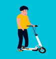fat man rides on the scooter vector image
