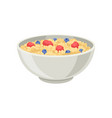 flat icon of oatmeal porridge or rice with vector image