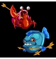 Funny red crab and blue piranha with Golden arrows vector image vector image