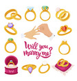 gold wedding wing will you marry me text vector image