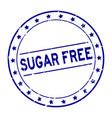 grunge blue sugar free word with star icon round vector image vector image