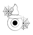 halloween horror eye with hat and spiderweb vector image vector image