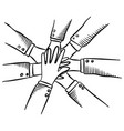 hand drawn hands diverse group people vector image