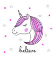 head of hand drawn unicorn on white background vector image vector image
