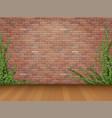 ivy red brick wall parquet floor vector image vector image