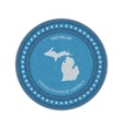 Label with map of michigan Denim style vector image vector image