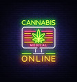 marijuana medical logo neon cannabis vector image