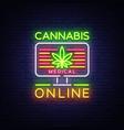 marijuana medical logo neon cannabis vector image vector image