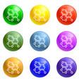 oxygen formula icons set vector image