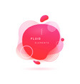 Red liquid blob with lines and circle