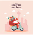 santa claus with a gift sack riding a scooter vector image vector image