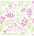 seamless pattern with green and pink leaf vector image