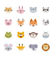 set flat animal icons vector image vector image