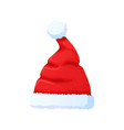 set of red santa claus hat new year cap vector image vector image