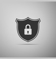 shield security with lock icon on grey background vector image