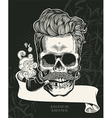 Skull Hipster skull silhouette with tobacco pipe vector image