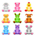 soft toys icons set vector image vector image