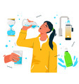 sporty thirsty woman drinks clean water vector image