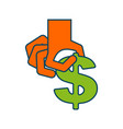 take profit money hand and dollar cash withdrawal vector image