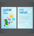 Template design flyer white smartphone with cloud vector image