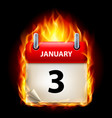 third january in calendar burning icon on black vector image vector image