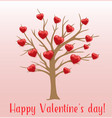 tree and red hearts on a pink background vector image