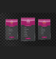 trendy transparent price list and offer columns vector image vector image