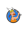 Viking Repairman Spanner Circle Cartoon vector image vector image