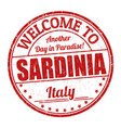 welcome to sardinia sign or stamp vector image vector image