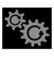 white halftone cogs rotation icon vector image