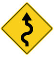 winding road sign on white background flat style vector image vector image