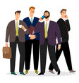 young and old businessmen isolated on white vector image vector image