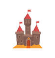 medieval castle with flanking towers wooden gate vector image