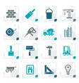 stylized construction and building icons vector image