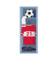soccer clothes and ball in locker room vector image