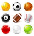 sport balls icons set vector image