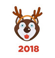 2018 dog year christmas dog head in santa reindeer vector image vector image
