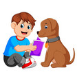 a man reading book with his dog vector image vector image