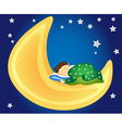 Baby boy sleeping on the moon vector image
