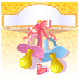 Baby greetings card with pink and blue nipple vector image