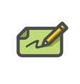 bank check and pen icon cartoon vector image