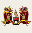 barongsai lion dancers and a drummer vector image