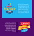 best teacher ever poster vector image vector image
