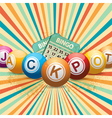 bingo balls and cards on retro starburst vector image vector image
